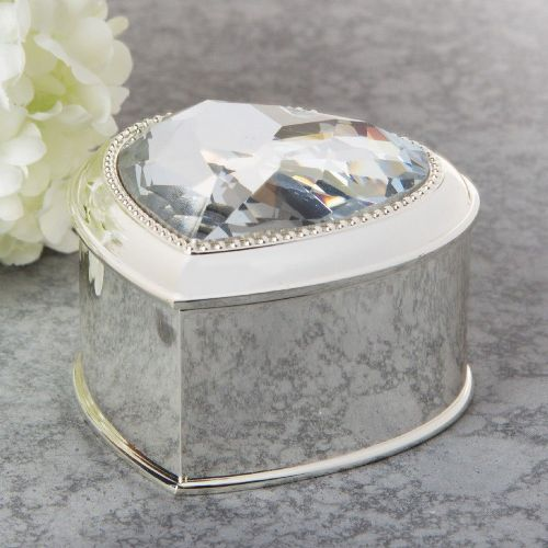 Luxury Silver and Crystal Heart Shaped Ring Box With Velvet Interior